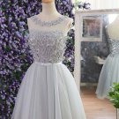 Open Back Chiffon Bowknot Homecoming Dress, Gray Applique Strapless Homecoming Dress