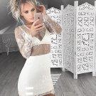 Long Sleeve Close-Fitting Homecoming Dress, White V Neck Sexy Short Homecoming Dress