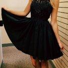 Chiffon Sexy Crystal Homecoming Dress, Black Halter Strapless Homecoming Dress