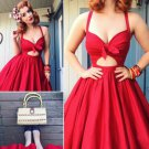Bowknot A Line Homecoming Dress, Red Deep V Neck Strapless Sexy Homecoming Dress