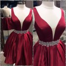 Deep V Neck Homecoming Dress, Red Beadings Homecoming Dress