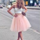 Tulle Short Homecoming Dress, Pink Two Pieces Homecoming Dress