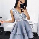 Gray V Neck A Line Homecoming Dress, Appleques Homecoming Dress