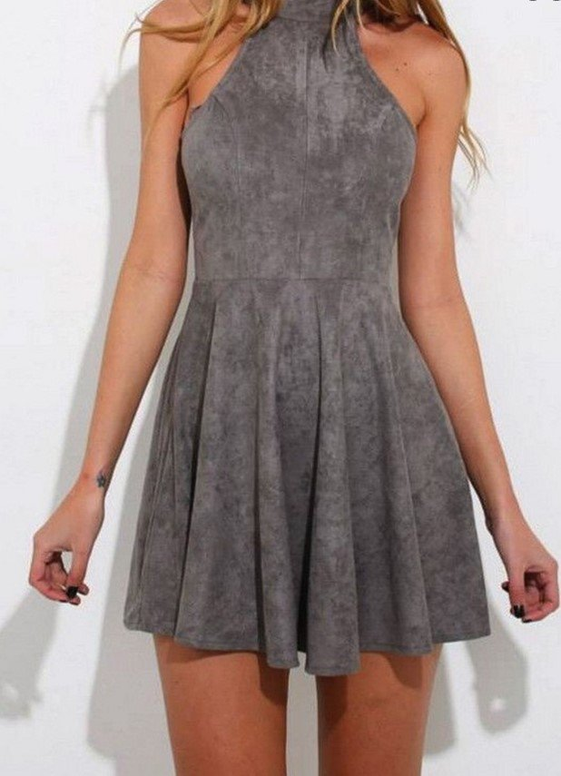 Strapless Short Mini Homecoming Dress, Gray Halter Homecoming Dress