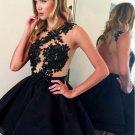 A-Line Short Homecoming Dresses, Black Sleeveless Appliques Homecoming Dresses