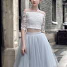 Tulle Off-the-Shoulder Lace Homecoming Dress, Knee-Length Sexy Homecoming Dress