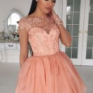 Short Coral Chiffon Cap Sleeves Homecoming Dress, A-Line Crew Homecoming Dress with Appliques