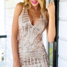 Short Sleeveess V-Neck Homecoming Dress, Sheath Deep Pink Sequine Homecoming Dress