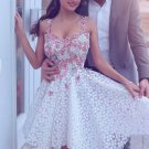 Applique Short Prom Dress, White Lace Cute Homecoming Dress