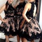 Black Short Prom Dress, Black Lace Homecoming Dress