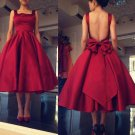 Bowknot Knee-Length Homecoming Dress, Red Backless Homecoming Dress