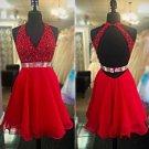 Besdings Chiffon Homecoming Dresses, Red Deep V Neck Homecoming Dress