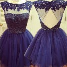 Tulle Strapless Homecoming Dresses, Purple Open Back Homecoming Dress