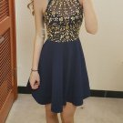Crystal Strapless Halter Homecoming Dresses, Navy Blue Homecoming Dress