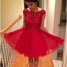 Scoop Neck Homecoming Dresses, Red Tulle Short Homecoming Dress