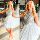 Beadings Sexy Homecoming Dress, Gray Two Pieces Homecoming Dress