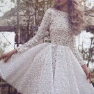 Long Sleeves Scoop Neck Homecoming Dress, White Lace Homecoming Dress