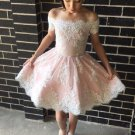 Lace Homecoming Dress, Off shoulder Homecoming Dresses