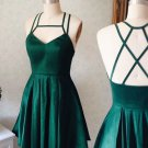 Spaghetti-Strap Green Sleeveless Homecoming Dress