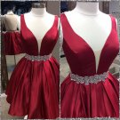 2017 Short Burgundy Sheer-Back Backless Homecoming Dresses