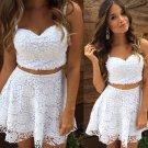 A-lineWhite Top Short Two-Piece Summer-Women-Dress