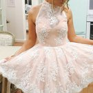 Sleeveless Pink Lace Halter Neck Short Homecoming Dress