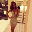 Spaghetti-Strap Sheath Sexy Gold Homecoming Dresses