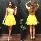 Yellow  Appliques Dress Mini Ruffles Sweet Homecoming Dress