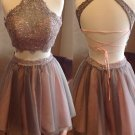 Two Piece Straps Lace Halter Neck Homecoming Dresses