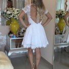 2017 White Short Homecoming Dresses Lace Beaded Top Graduation Dresses