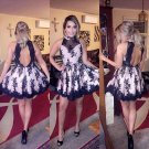 Black Lace Short Homecoming Dress Appliques Backless Prom Dress