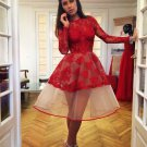 Popular Red Appliques Long-Sleeve Charming Homecoming Dresses