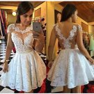 Short Lace Appliques Homecoming Dress A-Line Cap Sleeves Cocktail Dresses