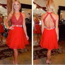 Tulle V-Neck Red Beadings Sleeveless Short Homecoming Dress