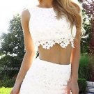 Strapless Two Pieces Homecoming Dress, White Lace Homecoming Dress