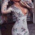 Deep V Neck Gray Homecoming Dress, Long Sleeves Applique Homecoming Dress