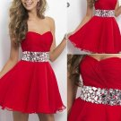 Red Chiffon Crystal Homecoming Dress, Sweetheat Homecoming Dress