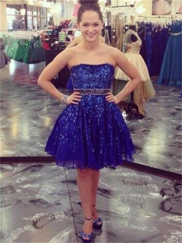 Navy Blue Chiffon Homecoming Dress, Sweetheart Homecoming Dress