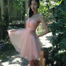 Baby Pink Sweetheart Homecoming Dress, Chiffon Cute Homecoming Dress