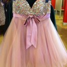 Pink Crystal Homecoming Dress, Bowknot Cute Homecoming Dress