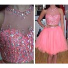 Hot Pink Two Pieces Homecoming Dress, Sequins Homecoming Dress