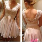 Pink Open Back Homecoming Dress, Lace Chiffon Homecoming Dress