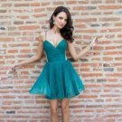 Green V Neck Homecoming Dress, Short Summer Homecoming Dress