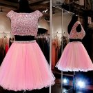 Pink Two Pieces Homecoming Dress, Beadings Chiffon Homecoming Dress