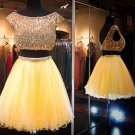 Yellow Two Pieces Homecoming Dress, Beadings Chiffon Homecoming Dress