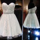 White Sweetheart Chiffon Homecoming Dress, Short Beadings Homecoming Dress