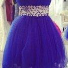 Royal Blue Sweetheart Homecoming Dress, Beadings Choiffon Homecoming Dress