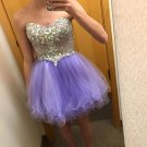 Purple Crystal Homecoming Dress, CAhiffon Sweetheart Homecoming Dress