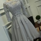 Grey 3/4 Sleeve Homecoming Dress, Applique Chiffon Homecoming Dress