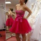 Hot Pink Sweetheart Homecoming Dress, Beadings Homecoming Dress